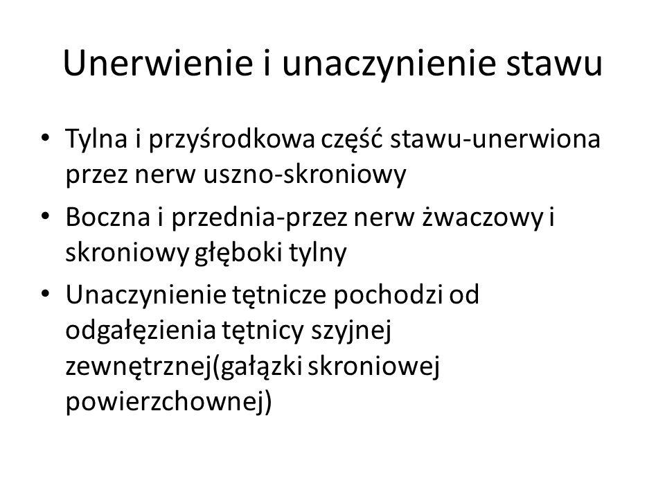 Unerwienie i unaczynienie stawu Tylna i przyśrodkowa część stawu-unerwiona przez nerw uszno-skroniowy Boczna i przednia-przez nerw żwaczowy i skroniow