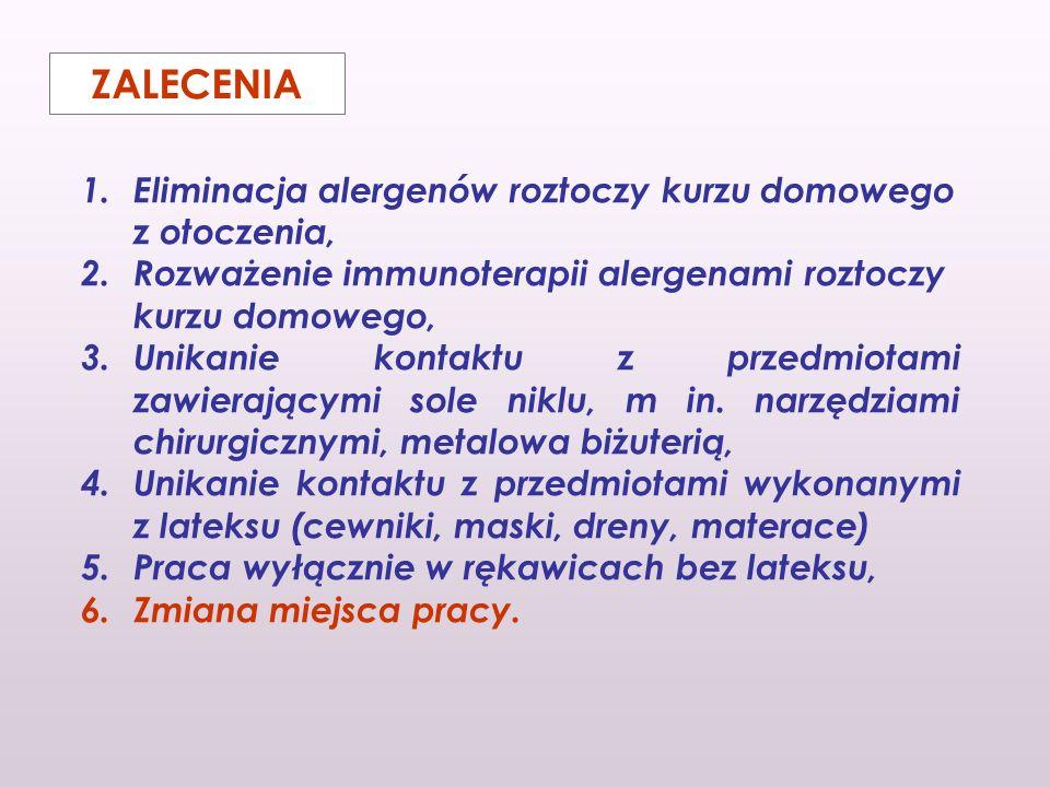 1.Eliminacja alergenów roztoczy kurzu domowego z otoczenia, 2.Rozważenie immunoterapii alergenami roztoczy kurzu domowego, 3.Unikanie kontaktu z przed