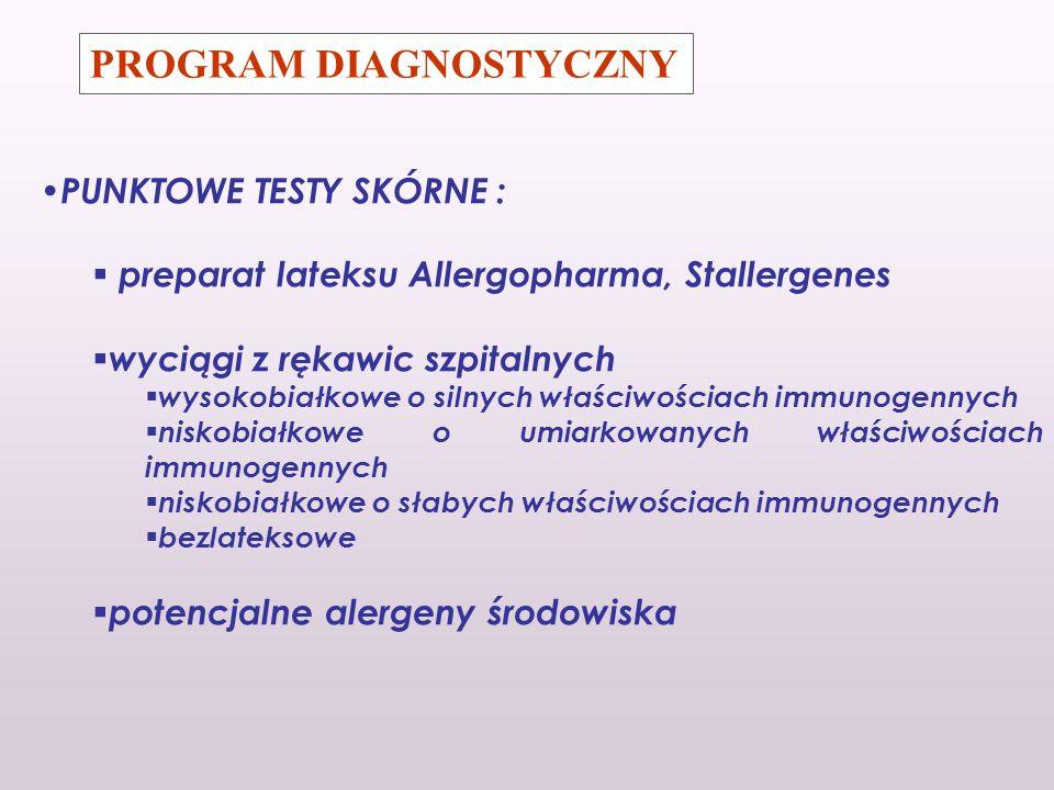 PROGRAM DIAGNOSTYCZNY PUNKTOWE TESTY SKÓRNE : preparat lateksu Allergopharma, Stallergenes wyciągi z rękawic szpitalnych wysokobiałkowe o silnych właś