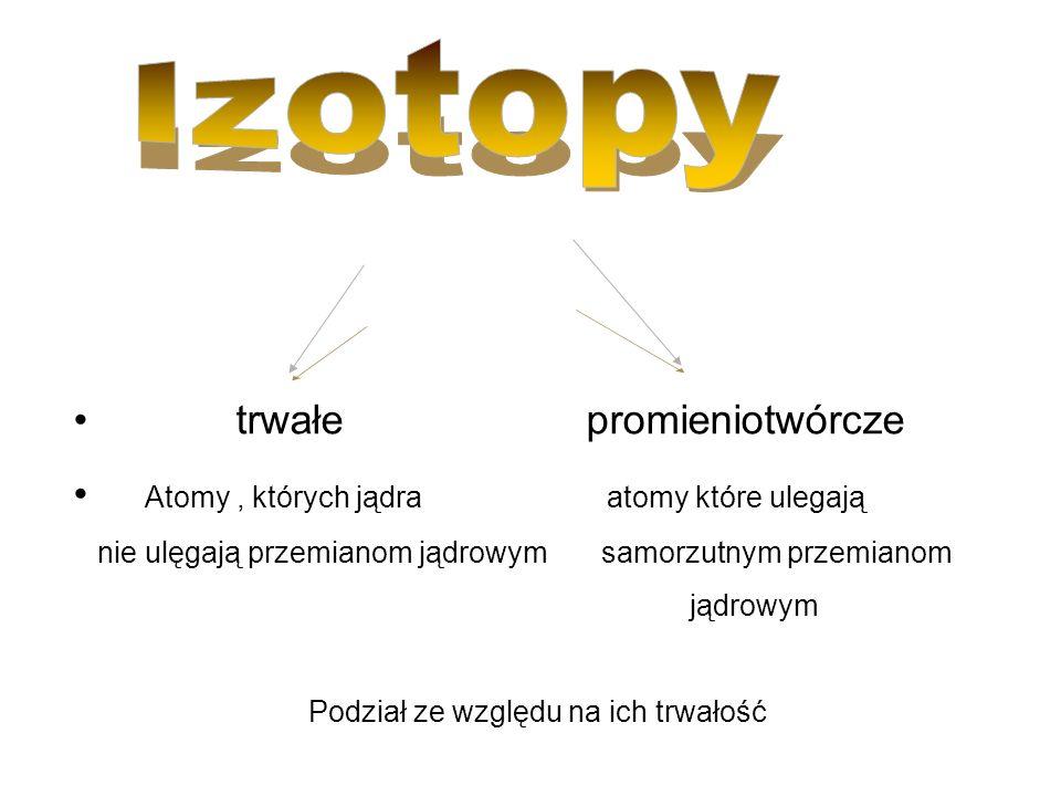 Izotopy w zależności od pochodzenia izotopy można podzielić naturalnesztuczne występujące w przyrodzie otrzymane przez człowieka