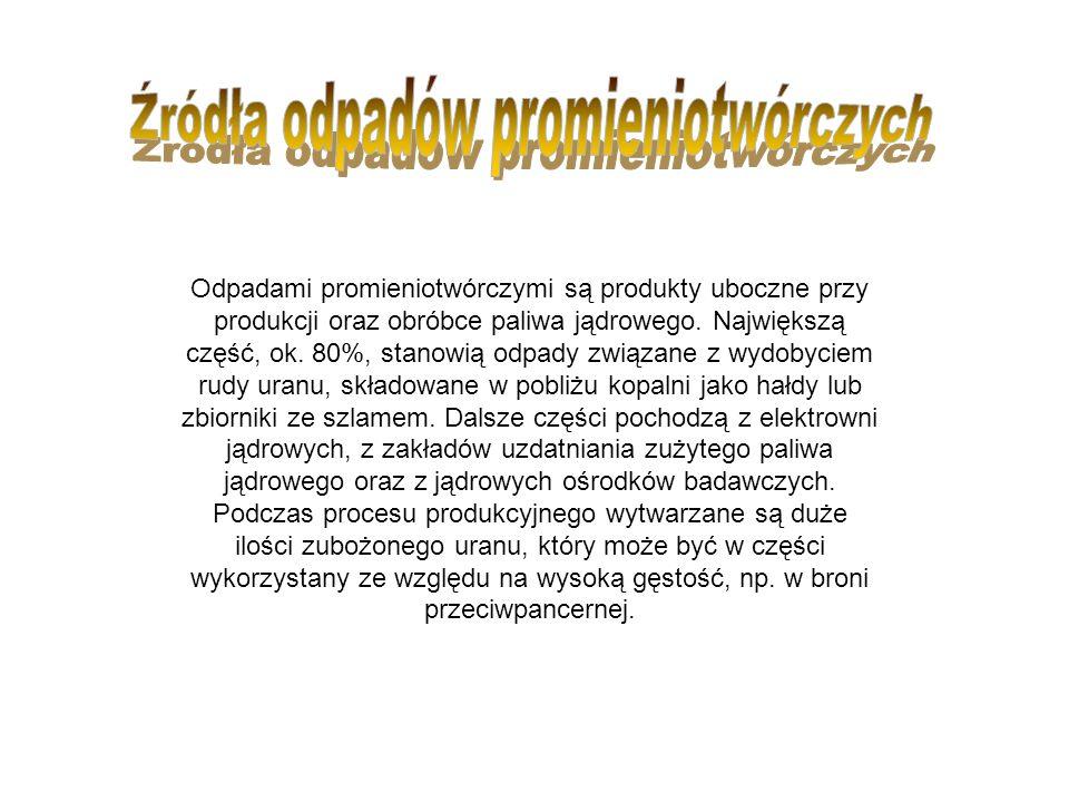 W Polsce istnieje obecnie jedno składowisko, Krajowe Składowisko Odpadów Promieniotwórczych w Różanie, przeznaczone dla odpadów o niewielkiej aktywności.