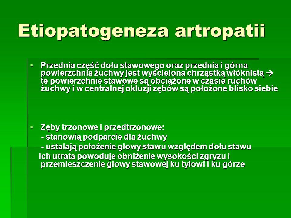 Etiopatogeneza artropatii Przednia część dołu stawowego oraz przednia i górna powierzchnia żuchwy jest wyścielona chrząstką włóknistą te powierzchnie