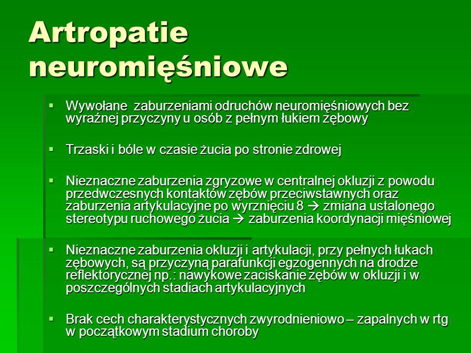 Artropatie neuromięśniowe Wywołane zaburzeniami odruchów neuromięśniowych bez wyraźnej przyczyny u osób z pełnym łukiem zębowy Wywołane zaburzeniami odruchów neuromięśniowych bez wyraźnej przyczyny u osób z pełnym łukiem zębowy Trzaski i bóle w czasie żucia po stronie zdrowej Trzaski i bóle w czasie żucia po stronie zdrowej Nieznaczne zaburzenia zgryzowe w centralnej okluzji z powodu przedwczesnych kontaktów zębów przeciwstawnych oraz zaburzenia artykulacyjne po wyrznięciu 8 zmiana ustalonego stereotypu ruchowego żucia zaburzenia koordynacji mięśniowej Nieznaczne zaburzenia zgryzowe w centralnej okluzji z powodu przedwczesnych kontaktów zębów przeciwstawnych oraz zaburzenia artykulacyjne po wyrznięciu 8 zmiana ustalonego stereotypu ruchowego żucia zaburzenia koordynacji mięśniowej Nieznaczne zaburzenia okluzji i artykulacji, przy pełnych łukach zębowych, są przyczyną parafunkcji egzogennych na drodze reflektorycznej np.: nawykowe zaciskanie zębów w okluzji i w poszczególnych stadiach artykulacyjnych Nieznaczne zaburzenia okluzji i artykulacji, przy pełnych łukach zębowych, są przyczyną parafunkcji egzogennych na drodze reflektorycznej np.: nawykowe zaciskanie zębów w okluzji i w poszczególnych stadiach artykulacyjnych Brak cech charakterystycznych zwyrodnieniowo – zapalnych w rtg w początkowym stadium choroby Brak cech charakterystycznych zwyrodnieniowo – zapalnych w rtg w początkowym stadium choroby