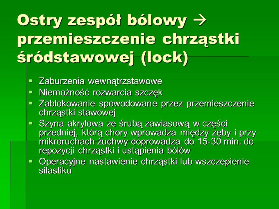 Ostry zespół bólowy przemieszczenie chrząstki śródstawowej (lock) Zaburzenia wewnątrzstawowe Zaburzenia wewnątrzstawowe Niemożność rozwarcia szczęk Ni