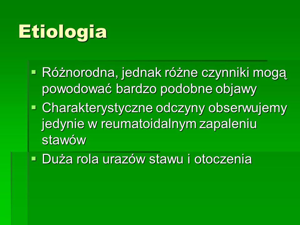 Etiologia Różnorodna, jednak różne czynniki mogą powodować bardzo podobne objawy Różnorodna, jednak różne czynniki mogą powodować bardzo podobne objawy Charakterystyczne odczyny obserwujemy jedynie w reumatoidalnym zapaleniu stawów Charakterystyczne odczyny obserwujemy jedynie w reumatoidalnym zapaleniu stawów Duża rola urazów stawu i otoczenia Duża rola urazów stawu i otoczenia