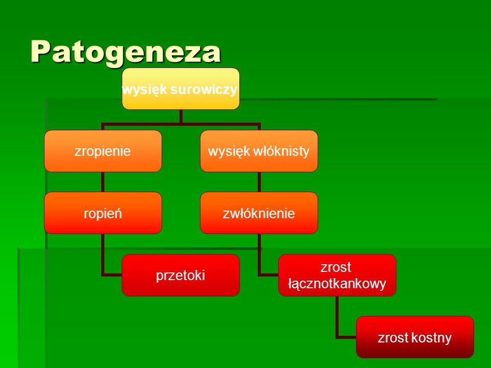 Patogeneza wysięk surowiczy zropienie ropień przetoki wysięk włóknisty zwłóknienie zrost łącznotkankowy zrost kostny