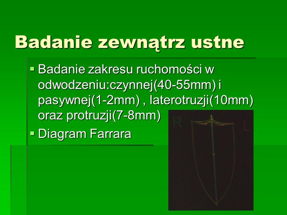 Badanie zewnątrz ustne Badanie zakresu ruchomości w odwodzeniu:czynnej(40-55mm) i pasywnej(1-2mm), laterotruzji(10mm) oraz protruzji(7-8mm) Badanie za