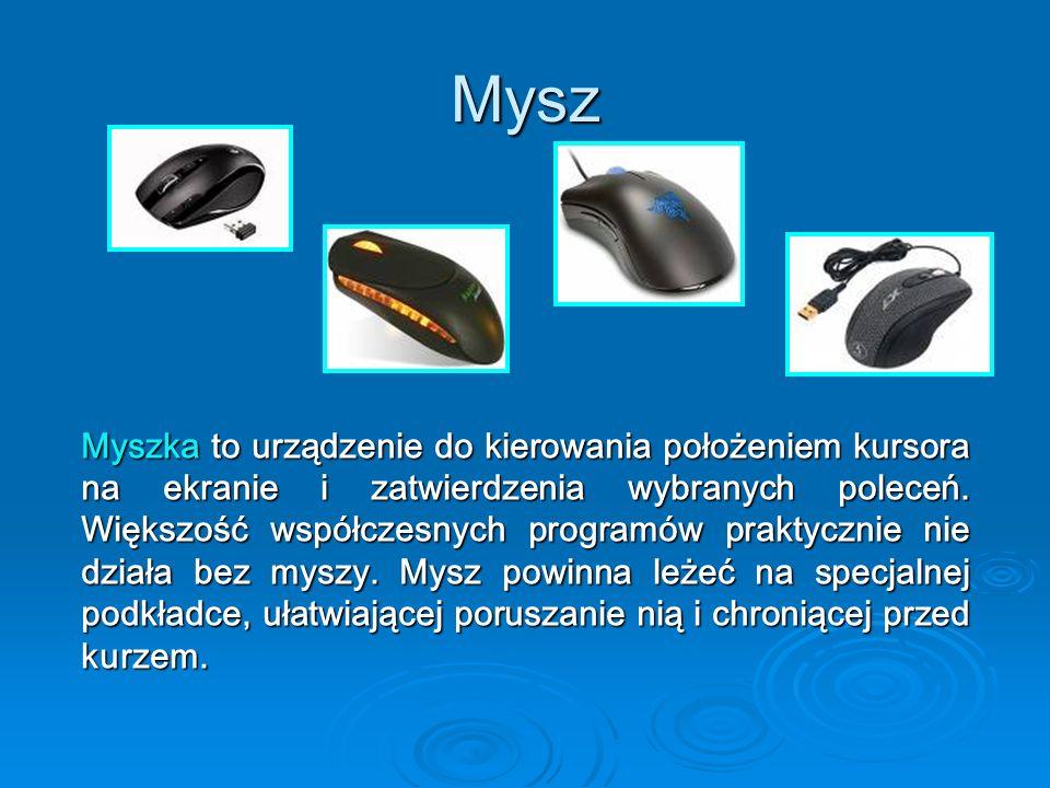 Mysz Myszka to urządzenie do kierowania położeniem kursora na ekranie i zatwierdzenia wybranych poleceń. Większość współczesnych programów praktycznie