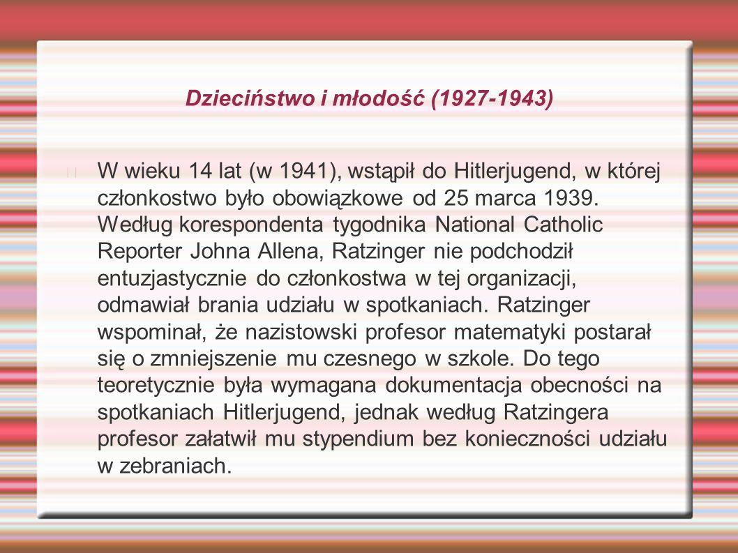 Dzieciństwo i młodość (1927-1943) W wieku 14 lat (w 1941), wstąpił do Hitlerjugend, w której członkostwo było obowiązkowe od 25 marca 1939. Według kor