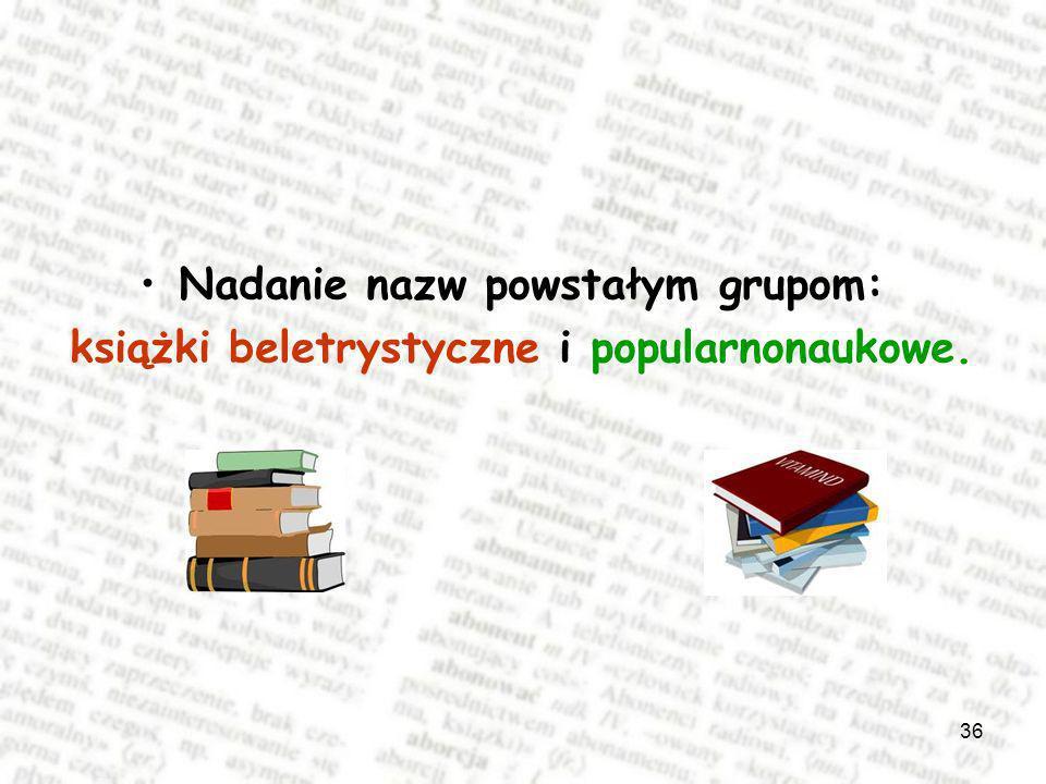 36 Nadanie nazw powstałym grupom: książki beletrystyczne i popularnonaukowe.