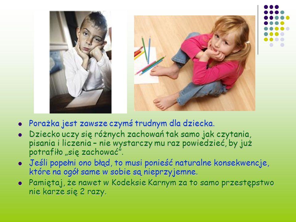 Porażka jest zawsze czymś trudnym dla dziecka. Porażka jest zawsze czymś trudnym dla dziecka. Dziecko uczy się różnych zachowań tak samo jak czytania,
