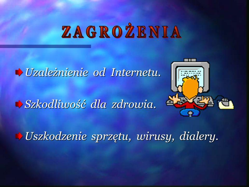 Uzależnienie od Internetu. Szkodliwość dla zdrowia. Uszkodzenie sprzętu, wirusy, dialery.