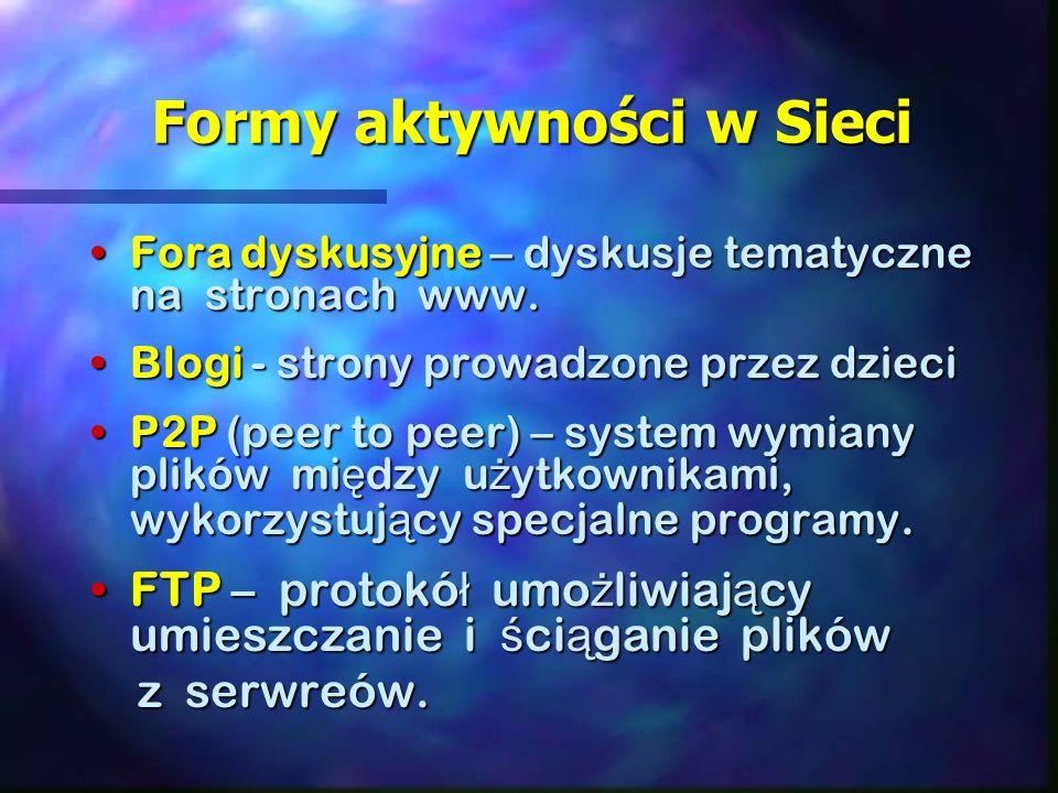 Formy aktywności w Sieci Formy aktywności w Sieci Fora dyskusyjne – dyskusje tematyczne na stronach www.Fora dyskusyjne – dyskusje tematyczne na stronach www.
