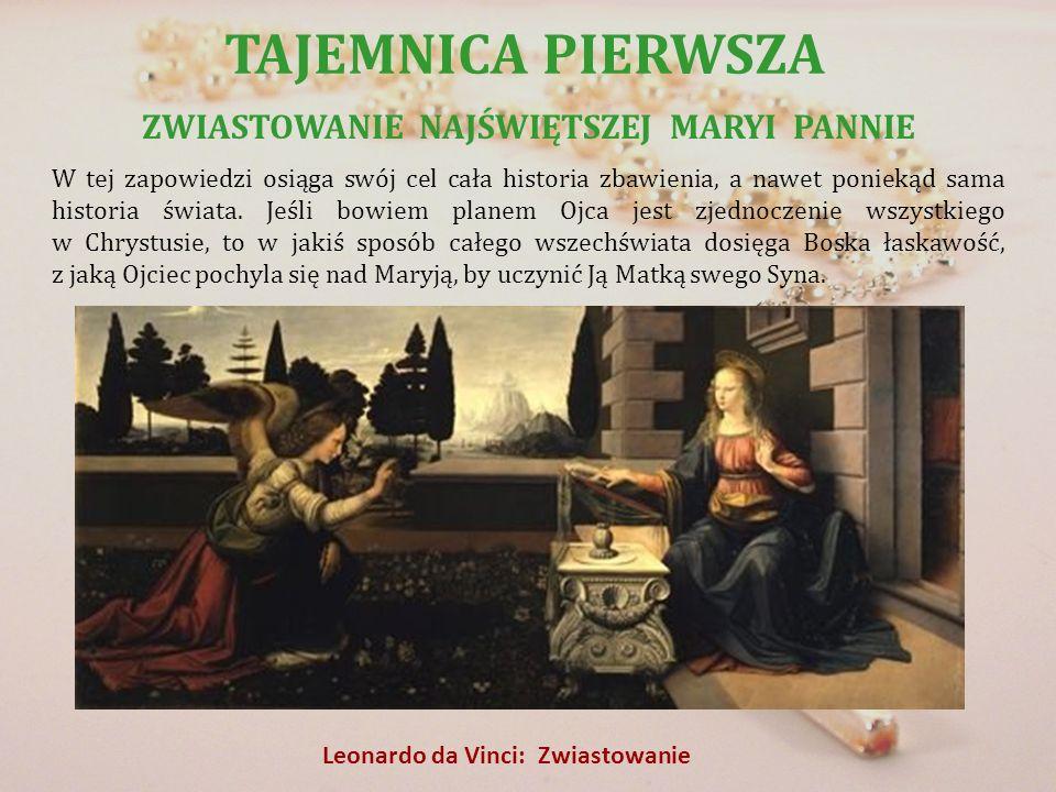 TAJEMNICA PIERWSZA ZWIASTOWANIE NAJŚWIĘTSZEJ MARYI PANNIE W tej zapowiedzi osiąga swój cel cała historia zbawienia, a nawet poniekąd sama historia świ
