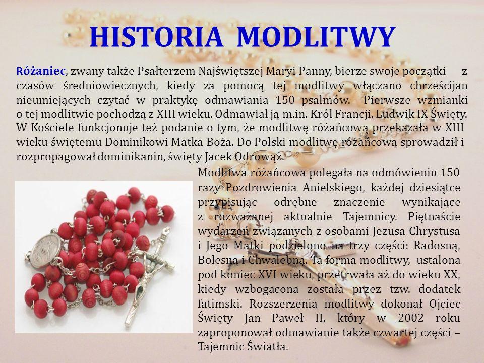 HISTORIA MODLITWY R óżaniec, zwany także Psałterzem Najświętszej Maryi Panny, bierze swoje początki z czasów średniowiecznych, kiedy za pomocą tej mod