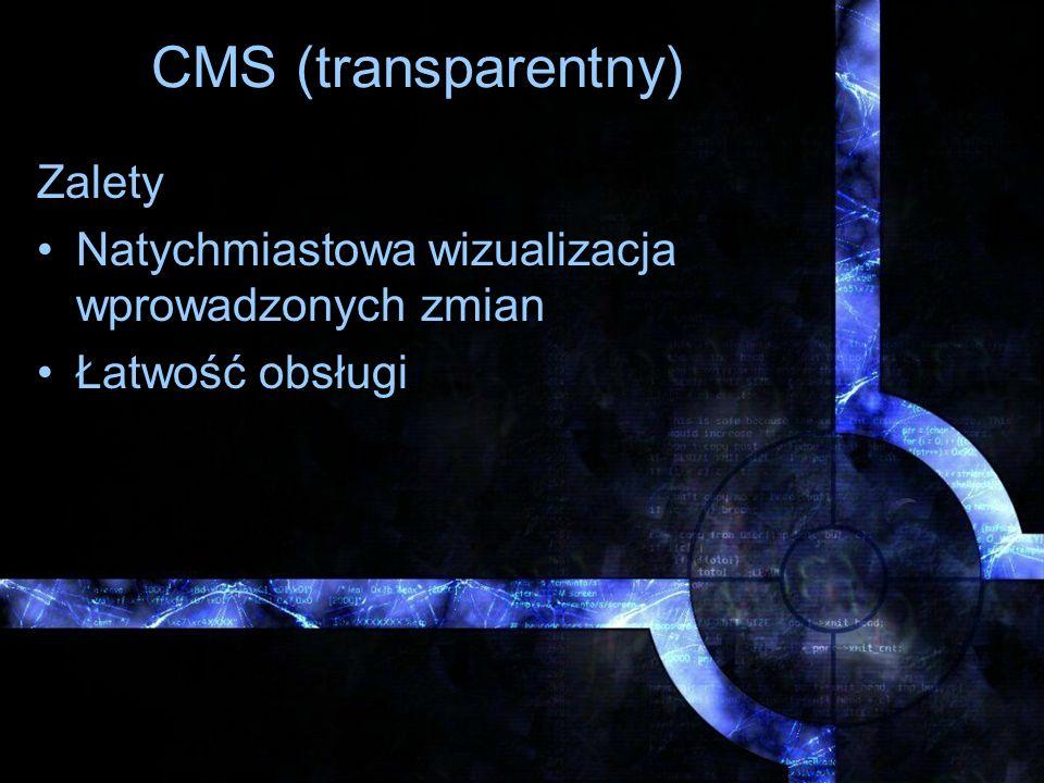 CMS (transparentny) Zalety Natychmiastowa wizualizacja wprowadzonych zmian Łatwość obsługi