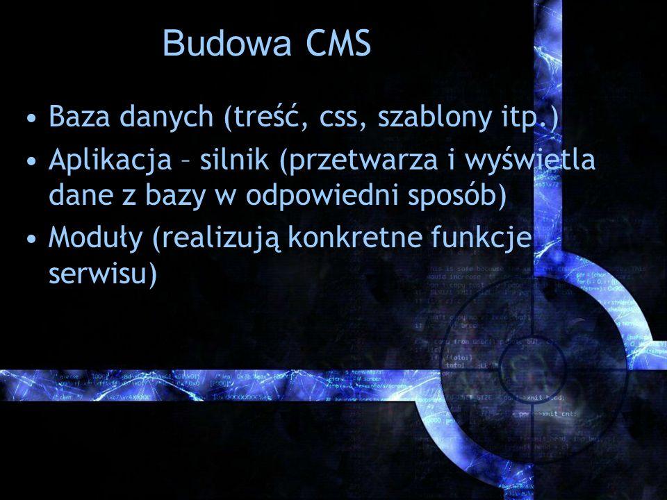 Budowa CMS Baza danych (treść, css, szablony itp.) Aplikacja – silnik (przetwarza i wyświetla dane z bazy w odpowiedni sposób) Moduły (realizują konkr