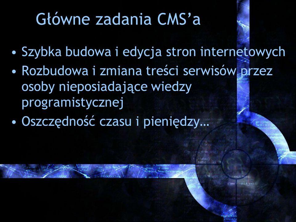 Główne zadania CMSa Szybka budowa i edycja stron internetowych Rozbudowa i zmiana treści serwisów przez osoby nieposiadające wiedzy programistycznej O
