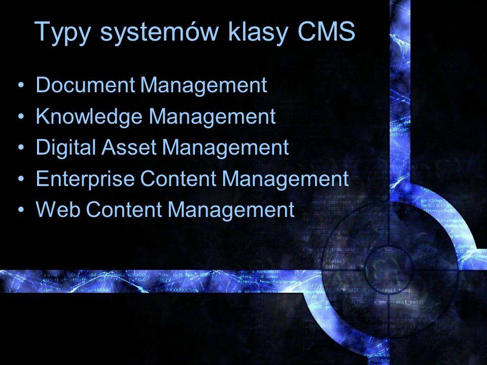 Rodzaje CMS-ów Content Management Framework Content Management System (modułowy) Content Management System (transparentyny) Content Object System
