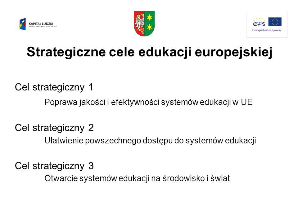 Strategiczne cele edukacji europejskiej Cel strategiczny 1 Poprawa jakości i efektywności systemów edukacji w UE Cel strategiczny 2 Ułatwienie powszec