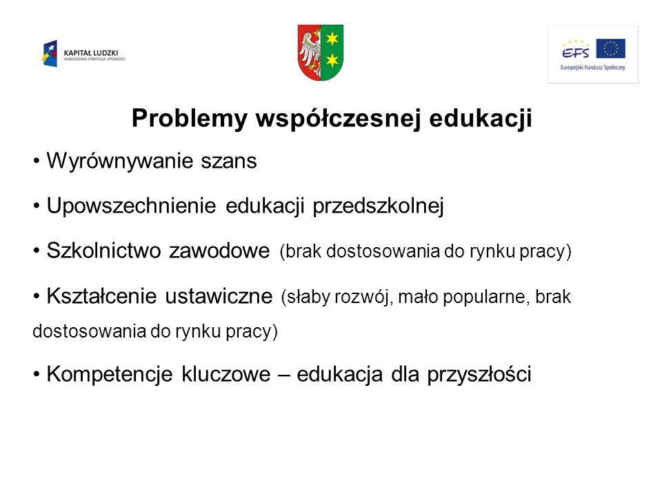 Problemy współczesnej edukacji Wyrównywanie szans Upowszechnienie edukacji przedszkolnej Szkolnictwo zawodowe (brak dostosowania do rynku pracy) Kszta