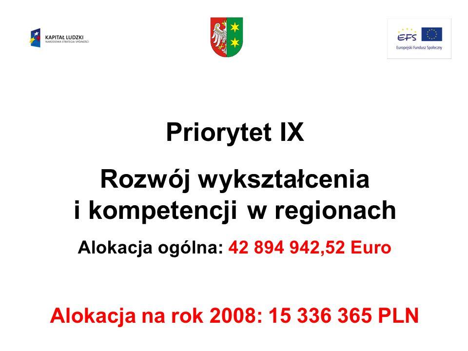 Priorytet IX Rozwój wykształcenia i kompetencji w regionach Alokacja ogólna: 42 894 942,52 Euro Alokacja na rok 2008: 15 336 365 PLN