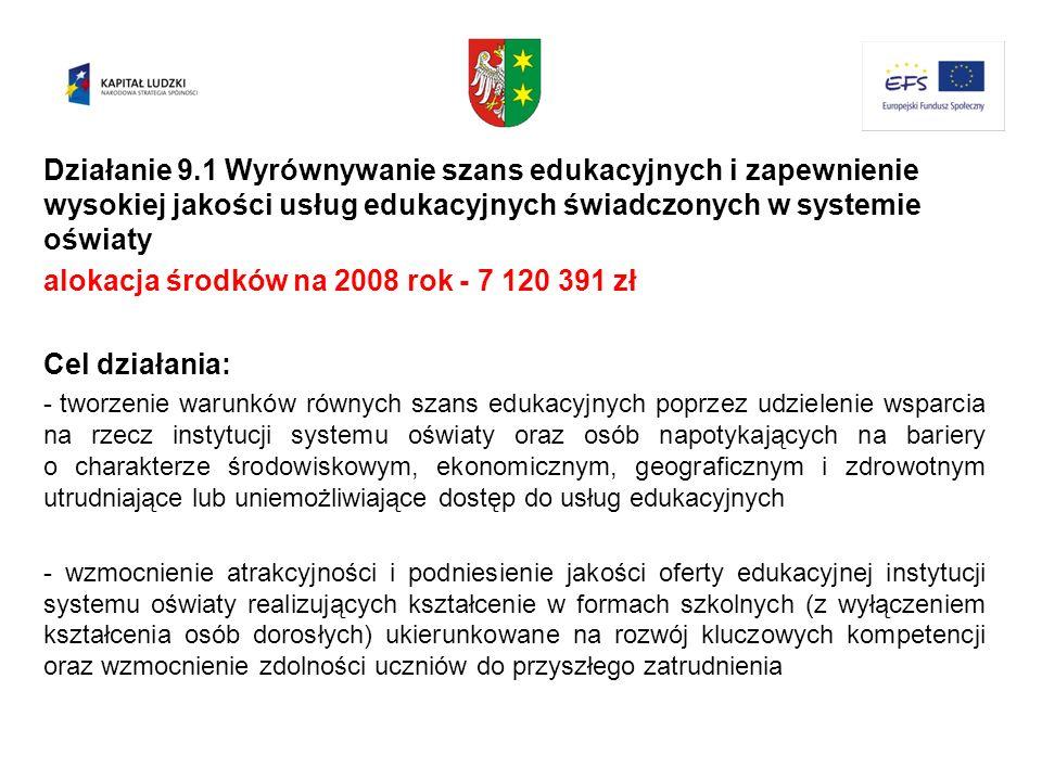 Działanie 9.1 Wyrównywanie szans edukacyjnych i zapewnienie wysokiej jakości usług edukacyjnych świadczonych w systemie oświaty alokacja środków na 20