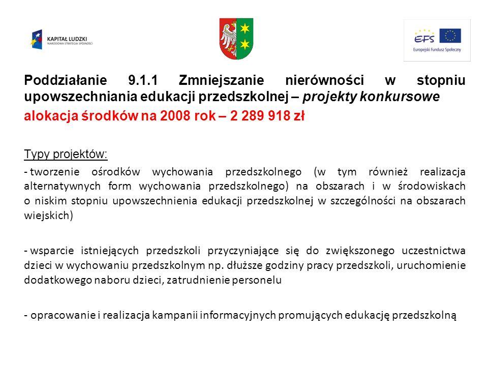 Poddziałanie 9.1.1 Zmniejszanie nierówności w stopniu upowszechniania edukacji przedszkolnej – projekty konkursowe alokacja środków na 2008 rok – 2 28
