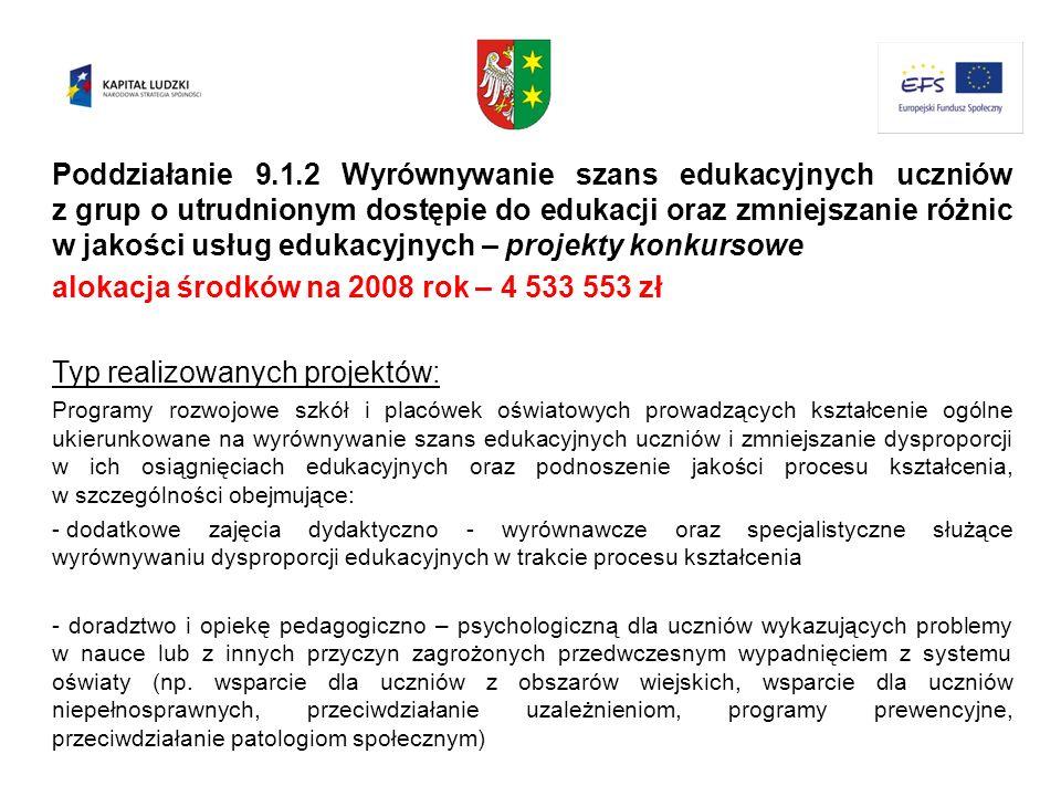 Poddziałanie 9.1.2 Wyrównywanie szans edukacyjnych uczniów z grup o utrudnionym dostępie do edukacji oraz zmniejszanie różnic w jakości usług edukacyj