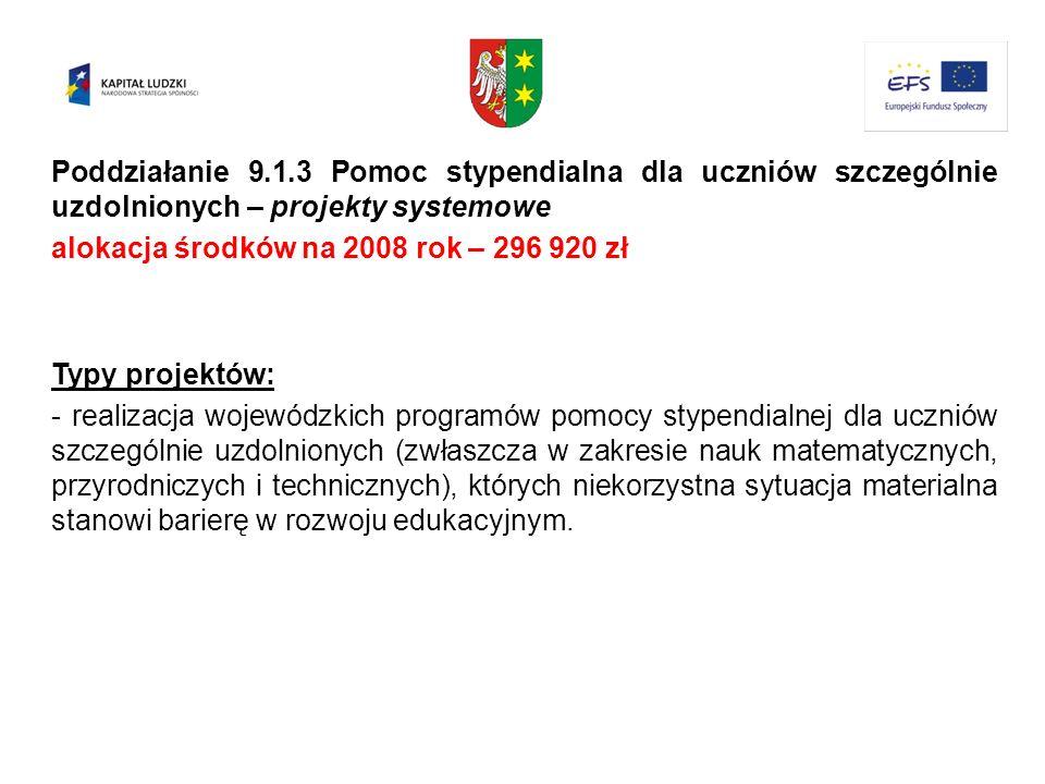 Poddziałanie 9.1.3 Pomoc stypendialna dla uczniów szczególnie uzdolnionych – projekty systemowe alokacja środków na 2008 rok – 296 920 zł Typy projekt