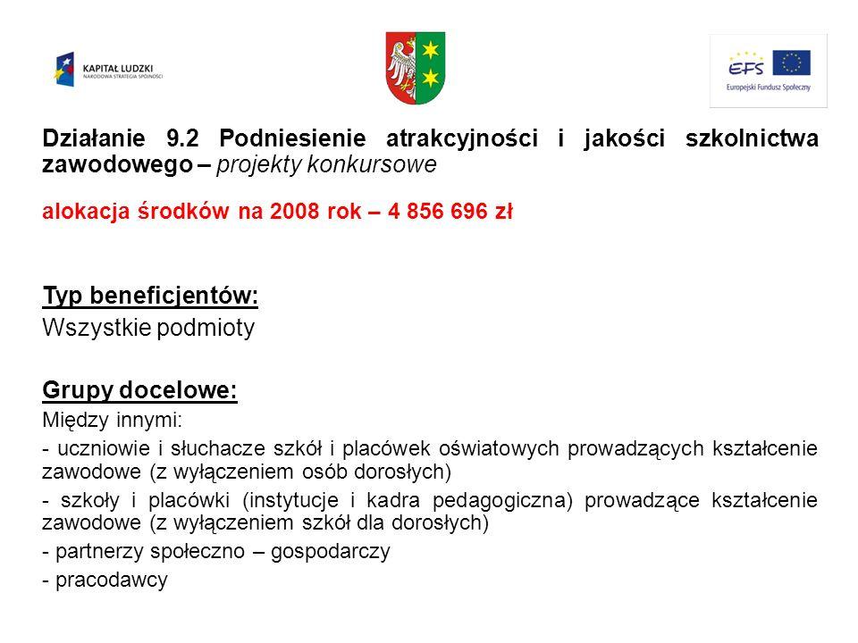 Działanie 9.2 Podniesienie atrakcyjności i jakości szkolnictwa zawodowego – projekty konkursowe alokacja środków na 2008 rok – 4 856 696 zł Typ benefi