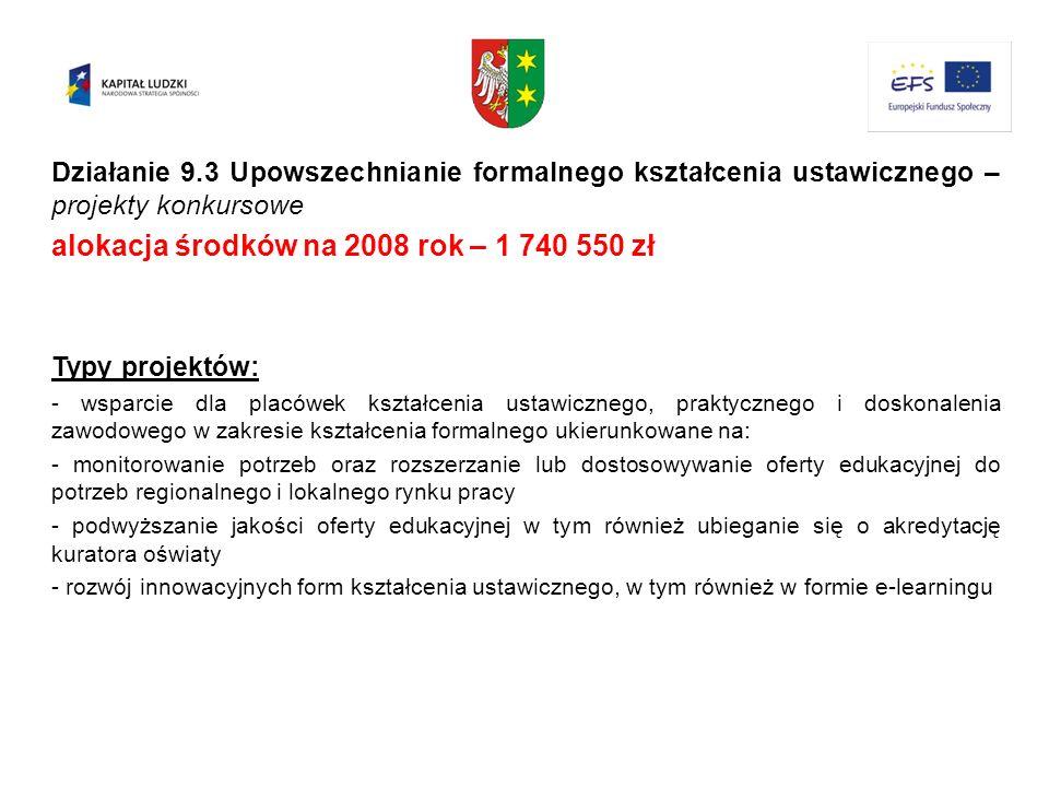 Działanie 9.3 Upowszechnianie formalnego kształcenia ustawicznego – projekty konkursowe alokacja środków na 2008 rok – 1 740 550 zł Typy projektów: -