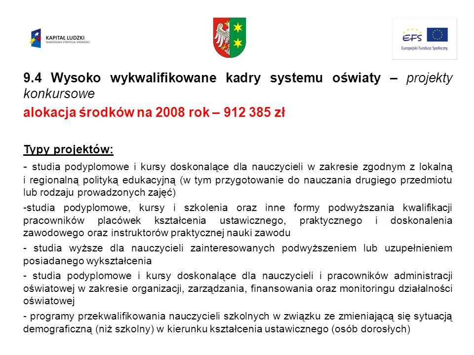 9.4 Wysoko wykwalifikowane kadry systemu oświaty – projekty konkursowe alokacja środków na 2008 rok – 912 385 zł Typy projektów: - studia podyplomowe