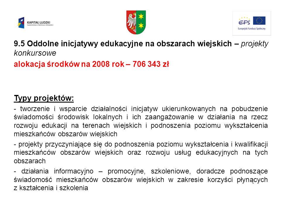 9.5 Oddolne inicjatywy edukacyjne na obszarach wiejskich – projekty konkursowe alokacja środków na 2008 rok – 706 343 zł Typy projektów: - tworzenie i