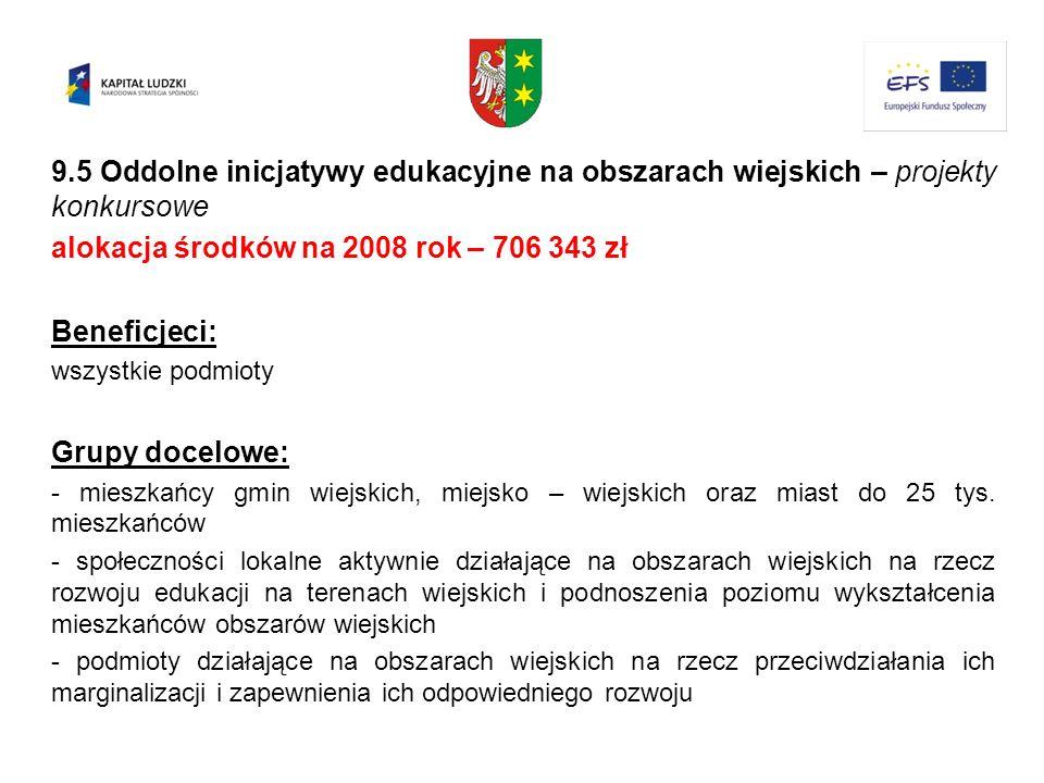 9.5 Oddolne inicjatywy edukacyjne na obszarach wiejskich – projekty konkursowe alokacja środków na 2008 rok – 706 343 zł Beneficjeci: wszystkie podmio
