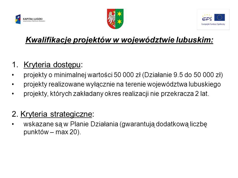 Kwalifikacje projektów w województwie lubuskim: 1.Kryteria dostępu: projekty o minimalnej wartości 50 000 zł (Działanie 9.5 do 50 000 zł) projekty rea