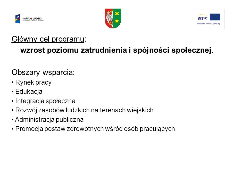 Główny cel programu: wzrost poziomu zatrudnienia i spójności społecznej. Obszary wsparcia: Rynek pracy Edukacja Integracja społeczna Rozwój zasobów lu