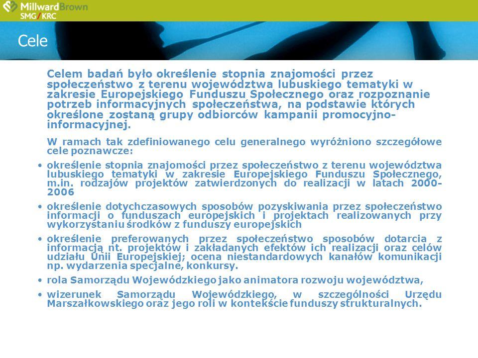 Cele Celem badań było określenie stopnia znajomości przez społeczeństwo z terenu województwa lubuskiego tematyki w zakresie Europejskiego Funduszu Społecznego oraz rozpoznanie potrzeb informacyjnych społeczeństwa, na podstawie których określone zostaną grupy odbiorców kampanii promocyjno- informacyjnej.