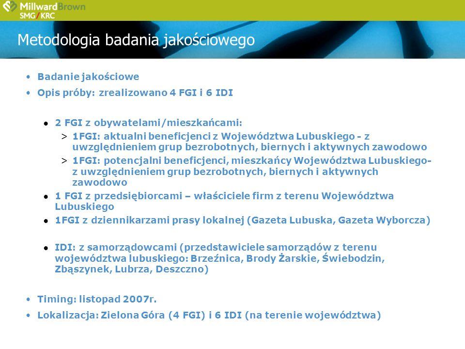 Metodologia badania ilościowego W ramach realizacji powyższych celów założono projekt badawczy uwzględniający trzy zasadnicze źródła poznawcze umożliwiające zagregowanie uzyskanych informacji i ekstrapolację na całą populację z terenu Województwa Lubuskiego z uwzględnieniem grup obywateli, przedsiębiorców oraz samorządów – kluczowych beneficjentów działań Samorządu Wojewódzkiego: obywatele - mieszkańcy Województwa Lubuskiego 400 wywiadów telefonicznych (CATI) na reprezentatywnej próbie przedsiębiorcy – właściciele firm z terenu Województwa Lubuskiego 200 wywiadów telefonicznych (CATI) na reprezentatywnej próbie - 50 wywiadów w firmach mikro - 100 wywiadów w firmach małych - 50 wywiadów w firmach średnich