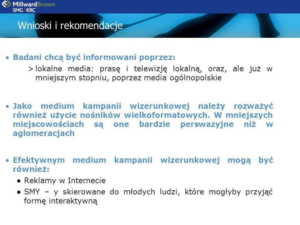 Wnioski i rekomendacje Badani chcą być informowani poprzez: >lokalne media: prasę i telewizję lokalną, oraz, ale już w mniejszym stopniu, poprzez media ogólnopolskie Jako medium kampanii wizerunkowej należy rozważyć również użycie nośników wielkoformatowych.