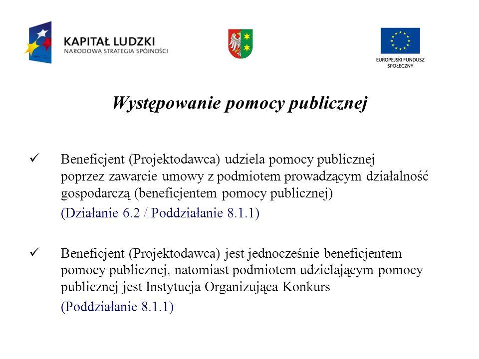 Występowanie pomocy publicznej Beneficjent (Projektodawca) udziela pomocy publicznej poprzez zawarcie umowy z podmiotem prowadzącym działalność gospod