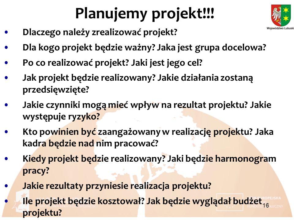 Planujemy projekt!!. Dlaczego należy zrealizować projekt.