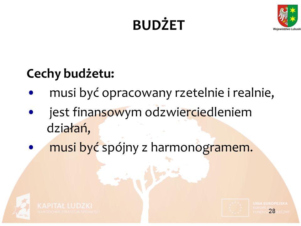 Cechy budżetu: musi być opracowany rzetelnie i realnie, jest finansowym odzwierciedleniem działań, musi być spójny z harmonogramem.