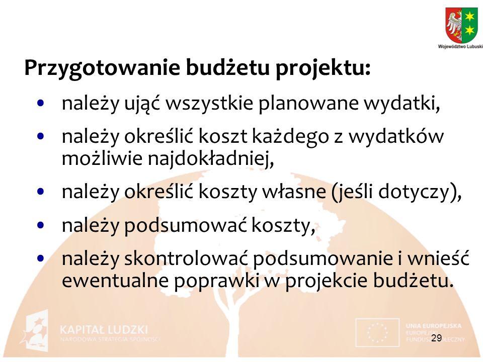 Przygotowanie budżetu projektu: należy ująć wszystkie planowane wydatki, należy określić koszt każdego z wydatków możliwie najdokładniej, należy określić koszty własne (jeśli dotyczy), należy podsumować koszty, należy skontrolować podsumowanie i wnieść ewentualne poprawki w projekcie budżetu.