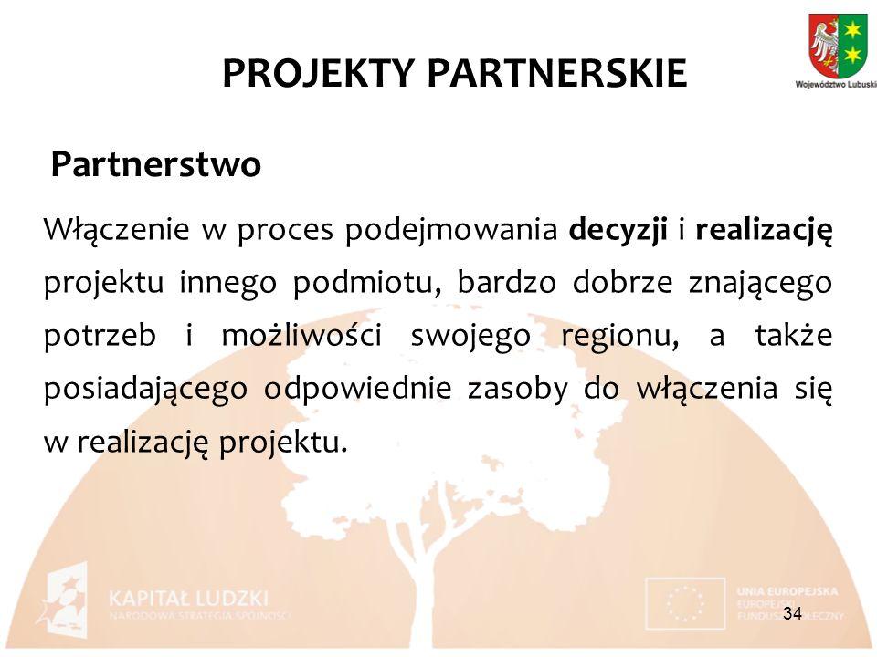 Partnerstwo Włączenie w proces podejmowania decyzji i realizację projektu innego podmiotu, bardzo dobrze znającego potrzeb i możliwości swojego regionu, a także posiadającego odpowiednie zasoby do włączenia się w realizację projektu.