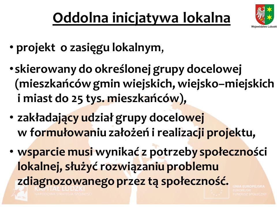 projekt o zasięgu lokalnym, skierowany do określonej grupy docelowej (mieszkańców gmin wiejskich, wiejsko–miejskich i miast do 25 tys.