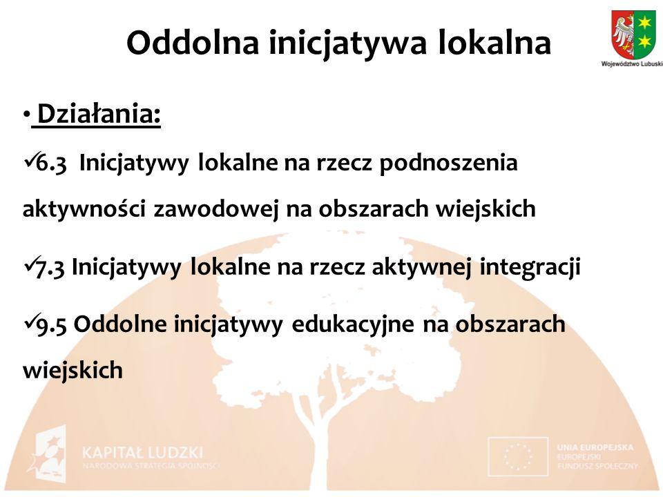 Działania: 6.3 Inicjatywy lokalne na rzecz podnoszenia aktywności zawodowej na obszarach wiejskich 7.3 Inicjatywy lokalne na rzecz aktywnej integracji 9.5 Oddolne inicjatywy edukacyjne na obszarach wiejskich Oddolna inicjatywa lokalna