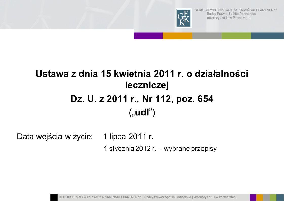 Ustawa z dnia 15 kwietnia 2011 r. o działalności leczniczej Dz. U. z 2011 r., Nr 112, poz. 654 (udl) Data wejścia w życie: 1 lipca 2011 r. 1 stycznia