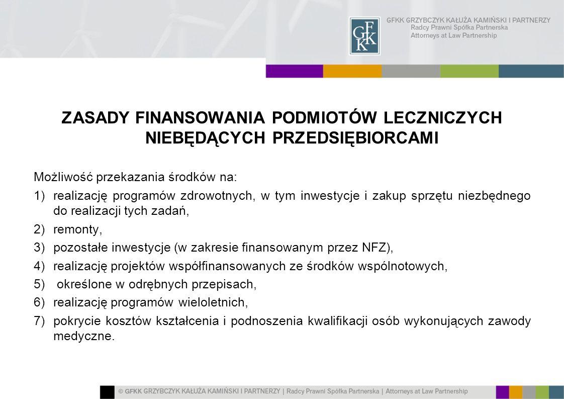 ZASADY FINANSOWANIA PODMIOTÓW LECZNICZYCH NIEBĘDĄCYCH PRZEDSIĘBIORCAMI Możliwość przekazania środków na: 1)realizację programów zdrowotnych, w tym inw