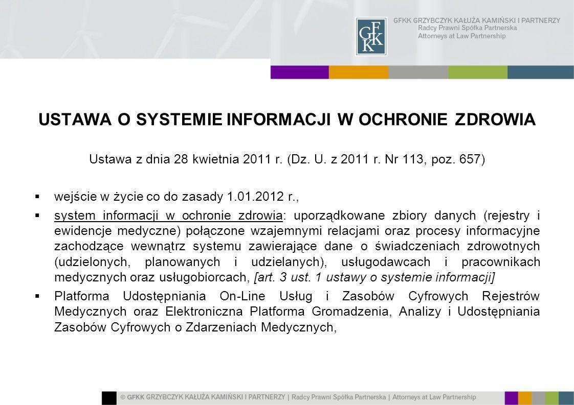 USTAWA O SYSTEMIE INFORMACJI W OCHRONIE ZDROWIA Ustawa z dnia 28 kwietnia 2011 r. (Dz. U. z 2011 r. Nr 113, poz. 657) wejście w życie co do zasady 1.0